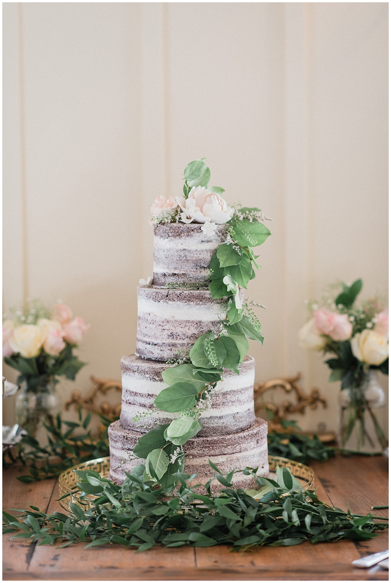Almost naked four tier cake by Sammy Cakes, photographed by Jenn Kavanagh Photography