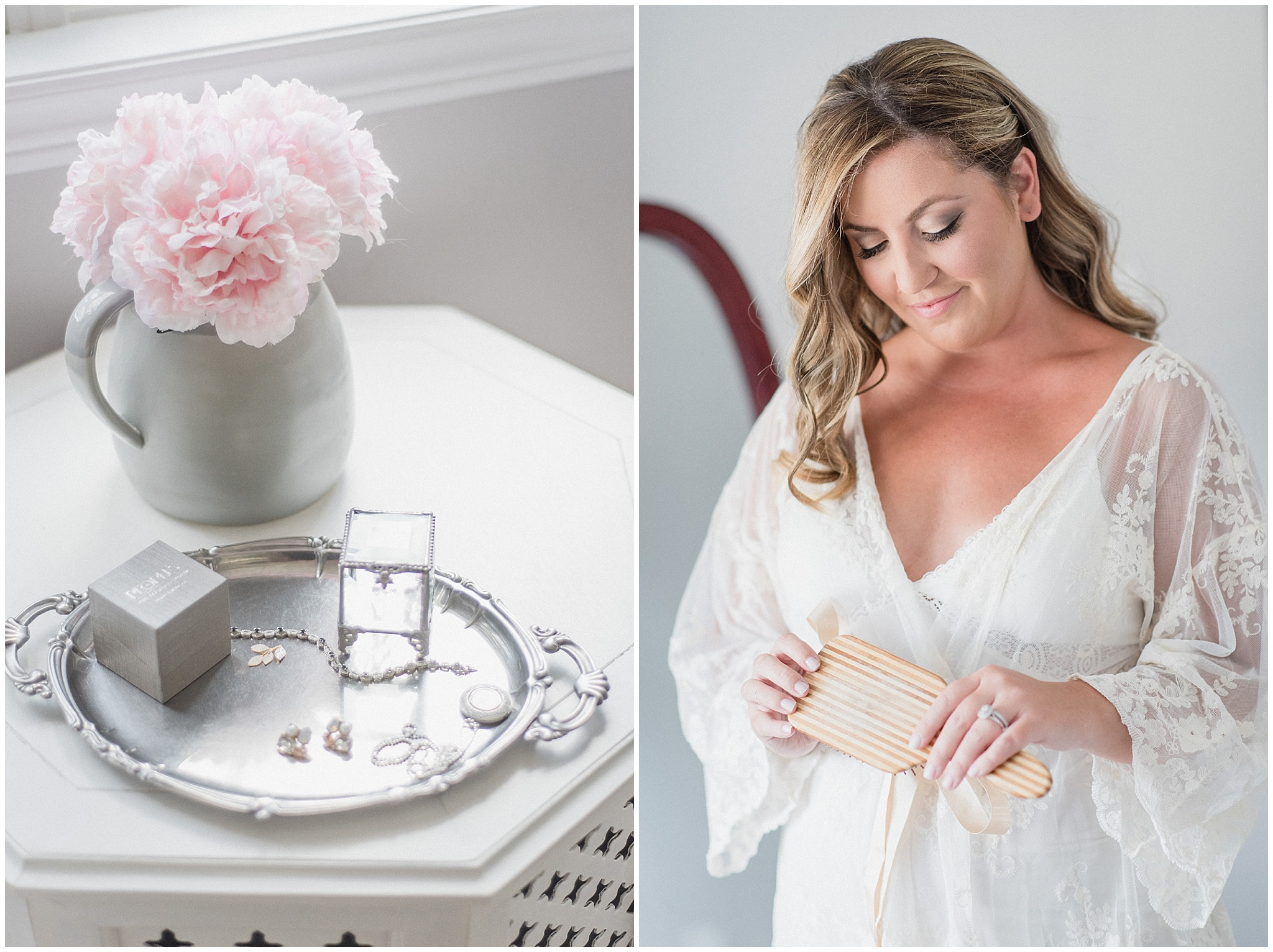 Bride getting ready in feminine white lace robe, photographed by Jenn Kavanagh Photography