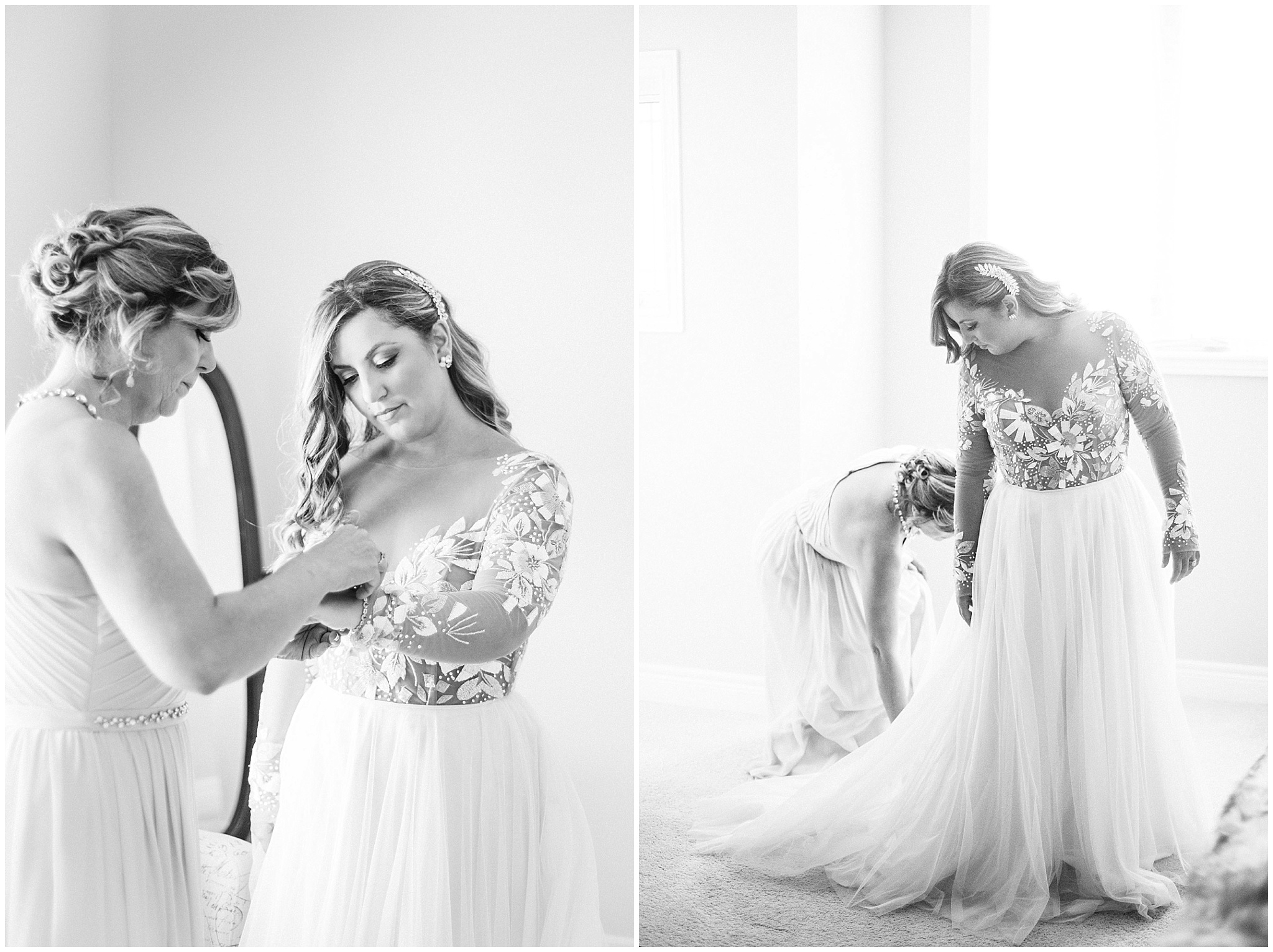 Stunning bride getting ready in Remmington gown by Hayley Paige, from Pearl Bridal House. Photographed by Jenn Kavanagh Photography.