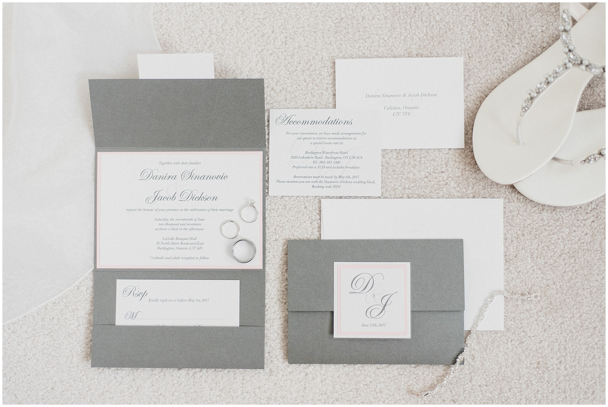Pink and grey invitation suite by Jenn Kavanagh Photography