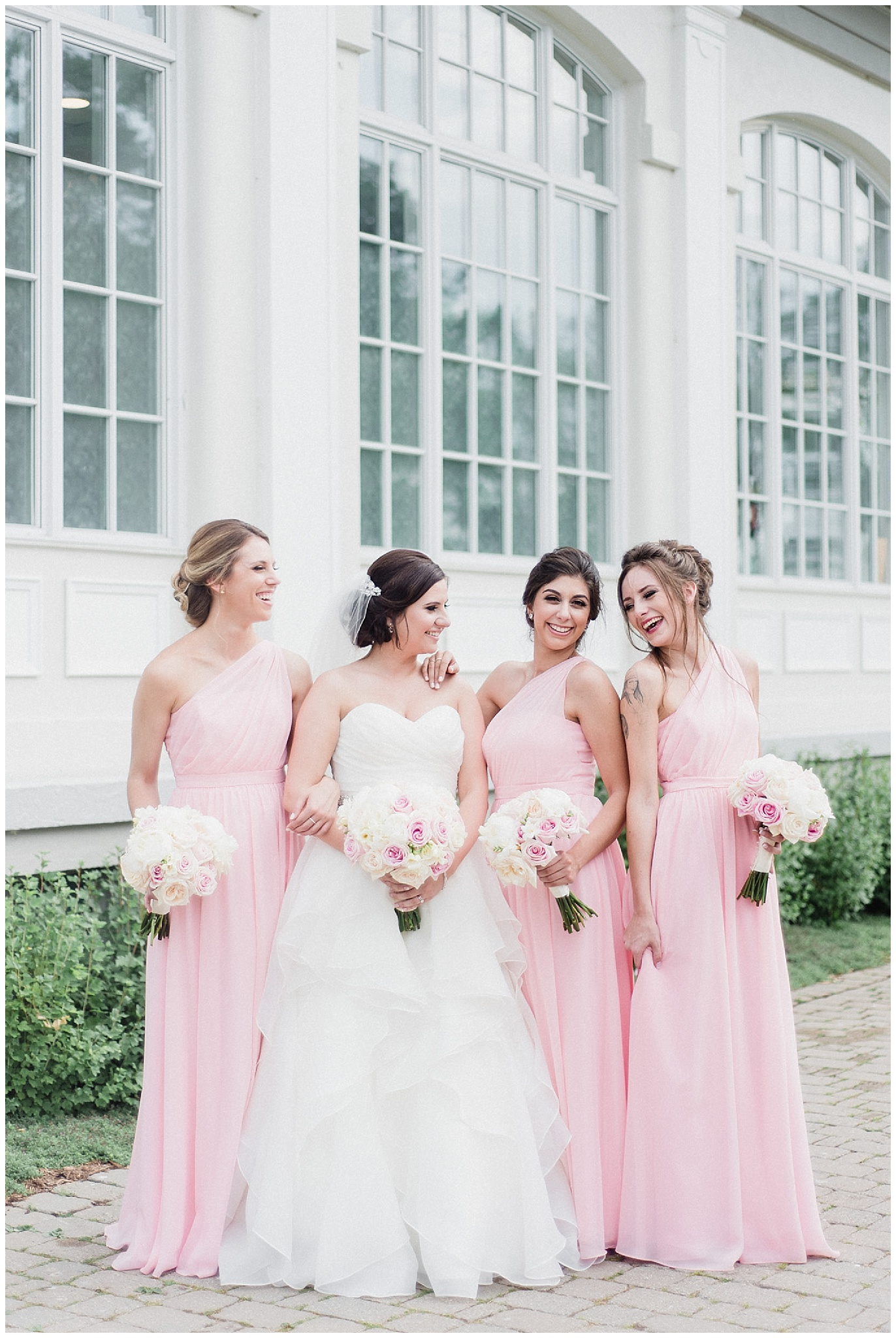 Pink and grey bridal party at LaSalle Banquet Centre by Jenn Kavanagh Photography