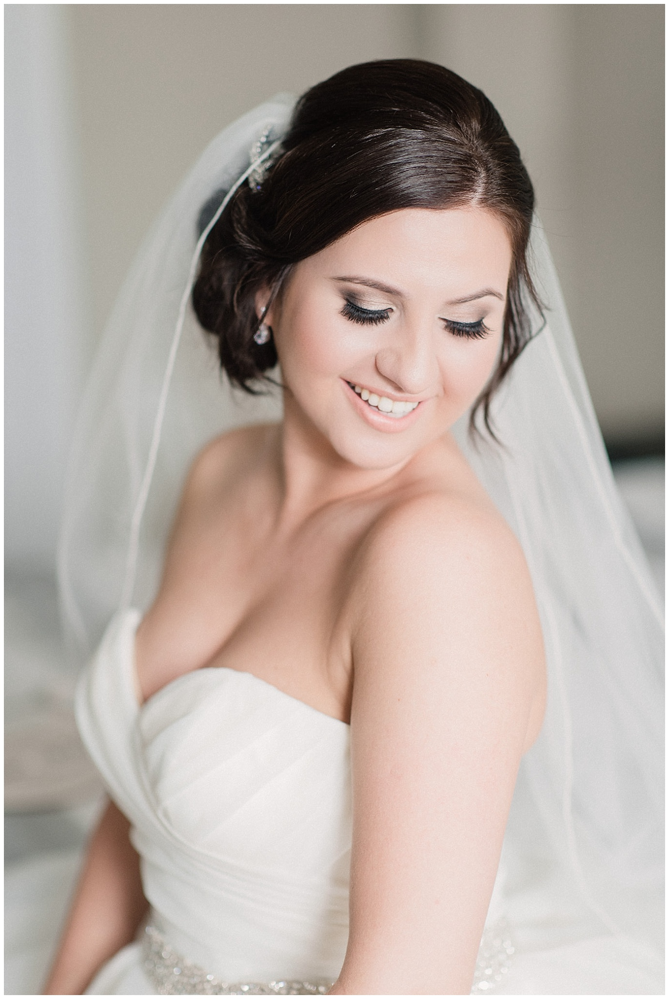 Glam bridal makeup for a soft and romantic pink and grey wedding at LaSalle Banquet Centre by Jenn Kavanagh Photography