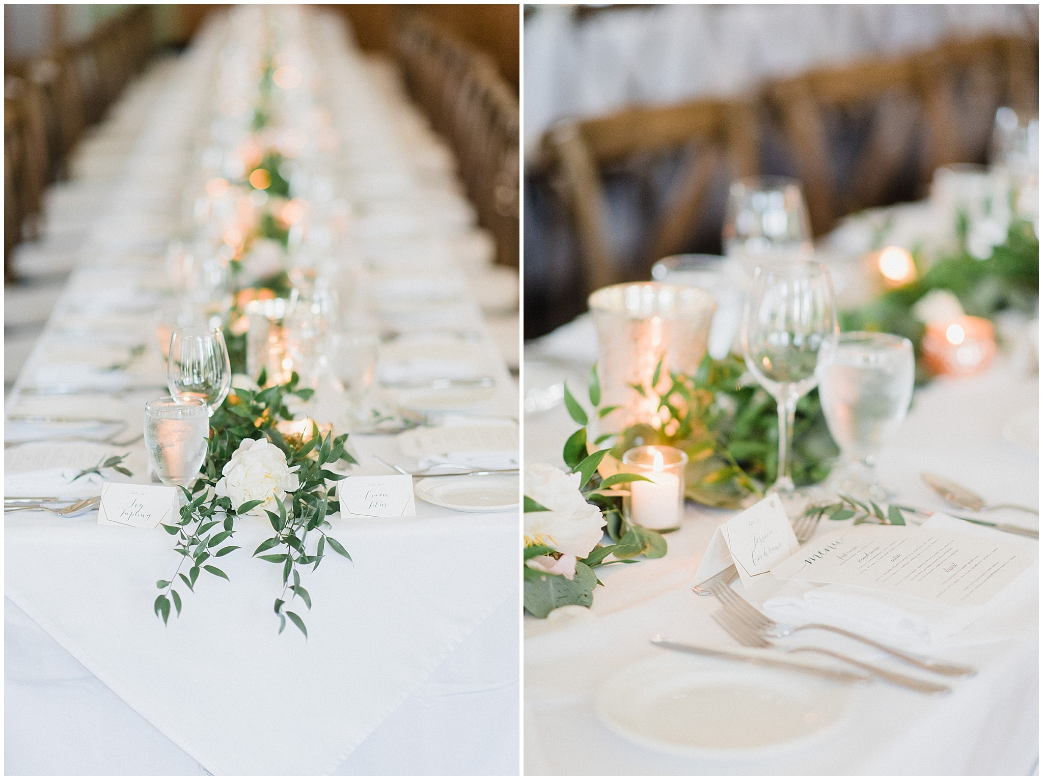 Garland table runners at an elegant cottage country wedding in Muskoka by Jenn Kavanagh Photography