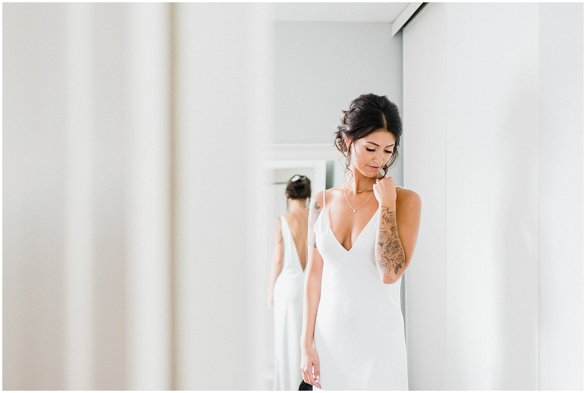 Slip-style vintage-inspired wedding gown by A la Robe, photographed by Jenn Kavanagh Photography