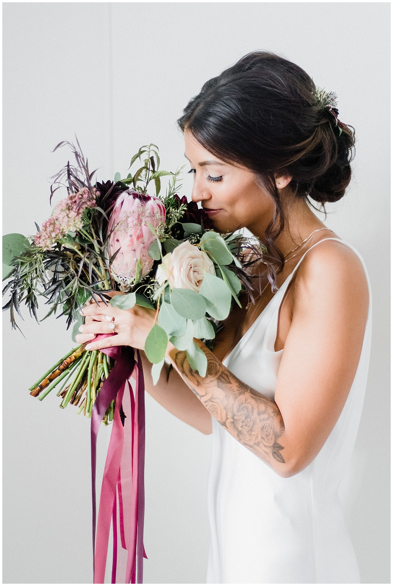 Boho bouquet with protea and herbs by Mint and Magnolia Floral Design, photographed by Jenn Kavanagh Photography
