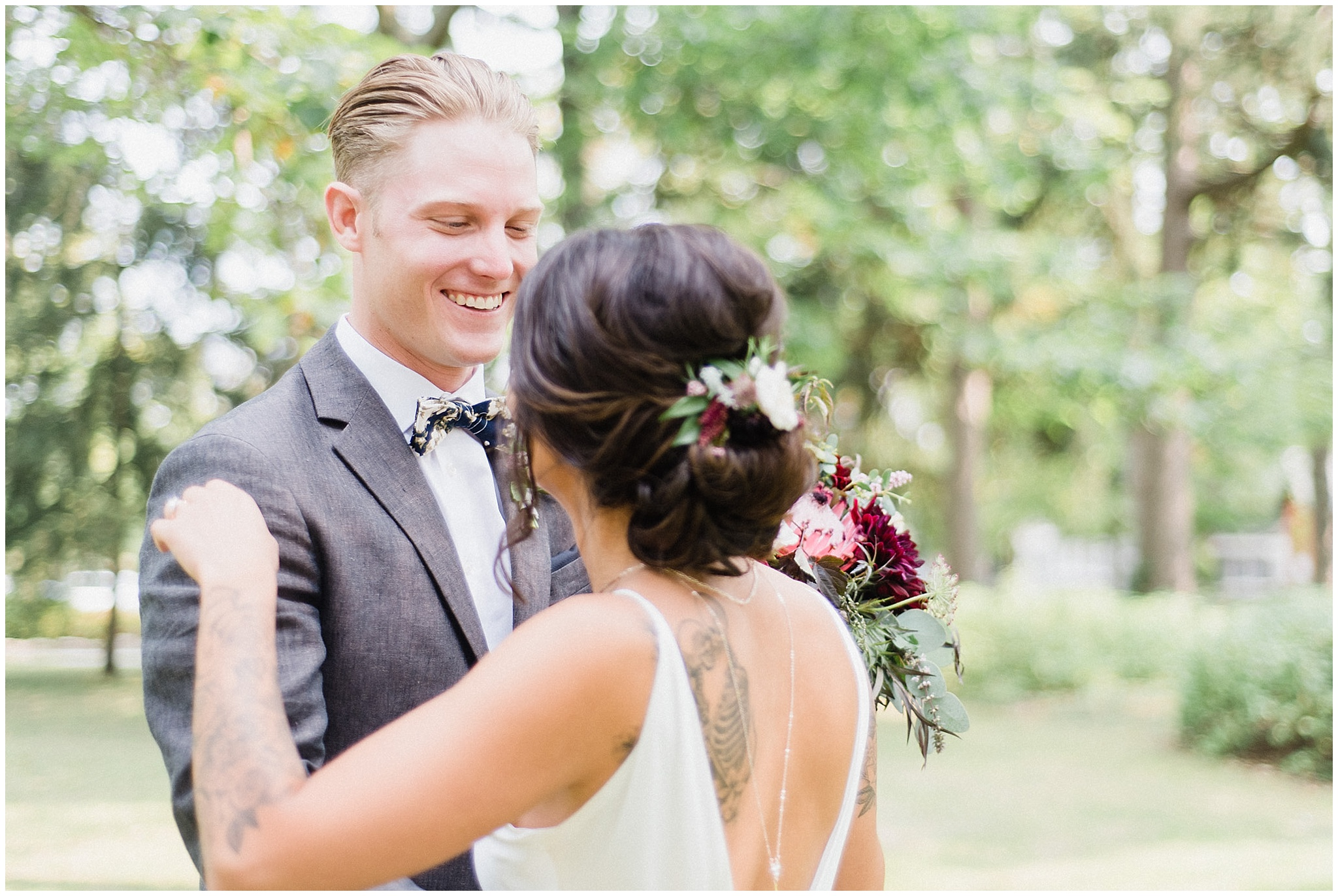 Emotional first look between bride and groom photographed by Jenn Kavanagh Photography