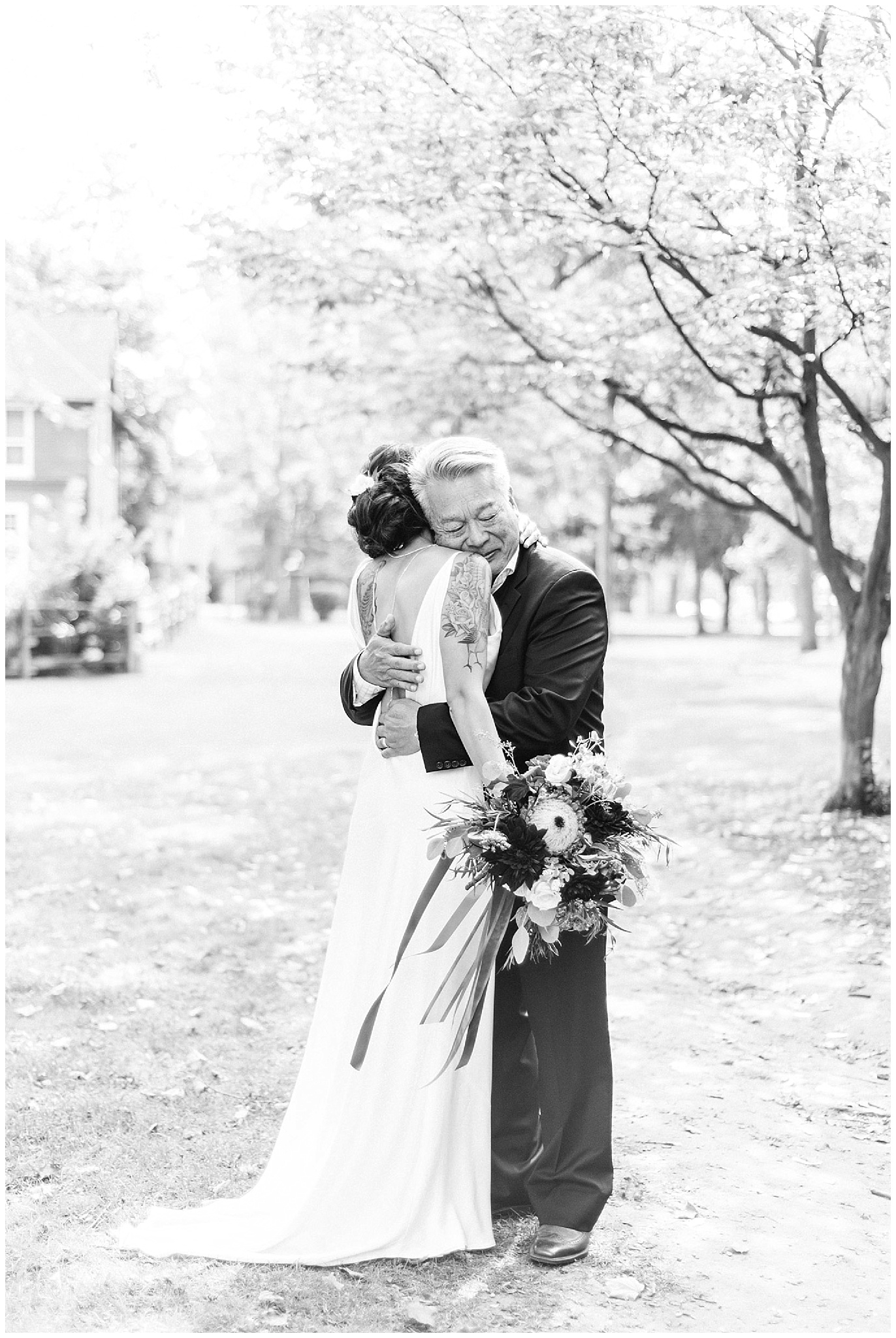 Bride's first look with her Dad | Chic, laid back wedding at Victoria Park Pavilion photographed by Jenn Kavanagh Photography