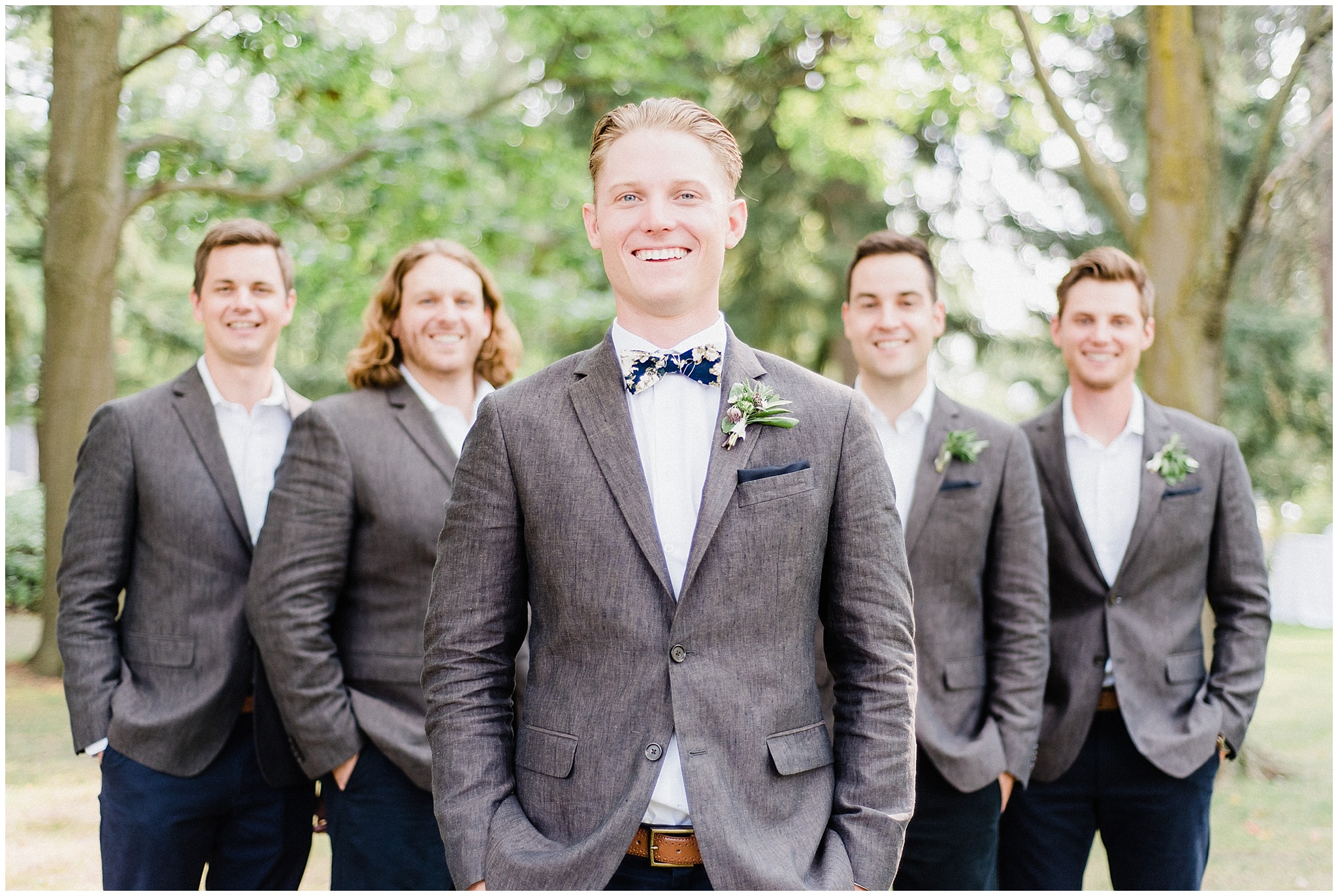 Groomsmen in chinos and blazers | Victoria Park Pavilion photographed by Jenn Kavanagh Photography