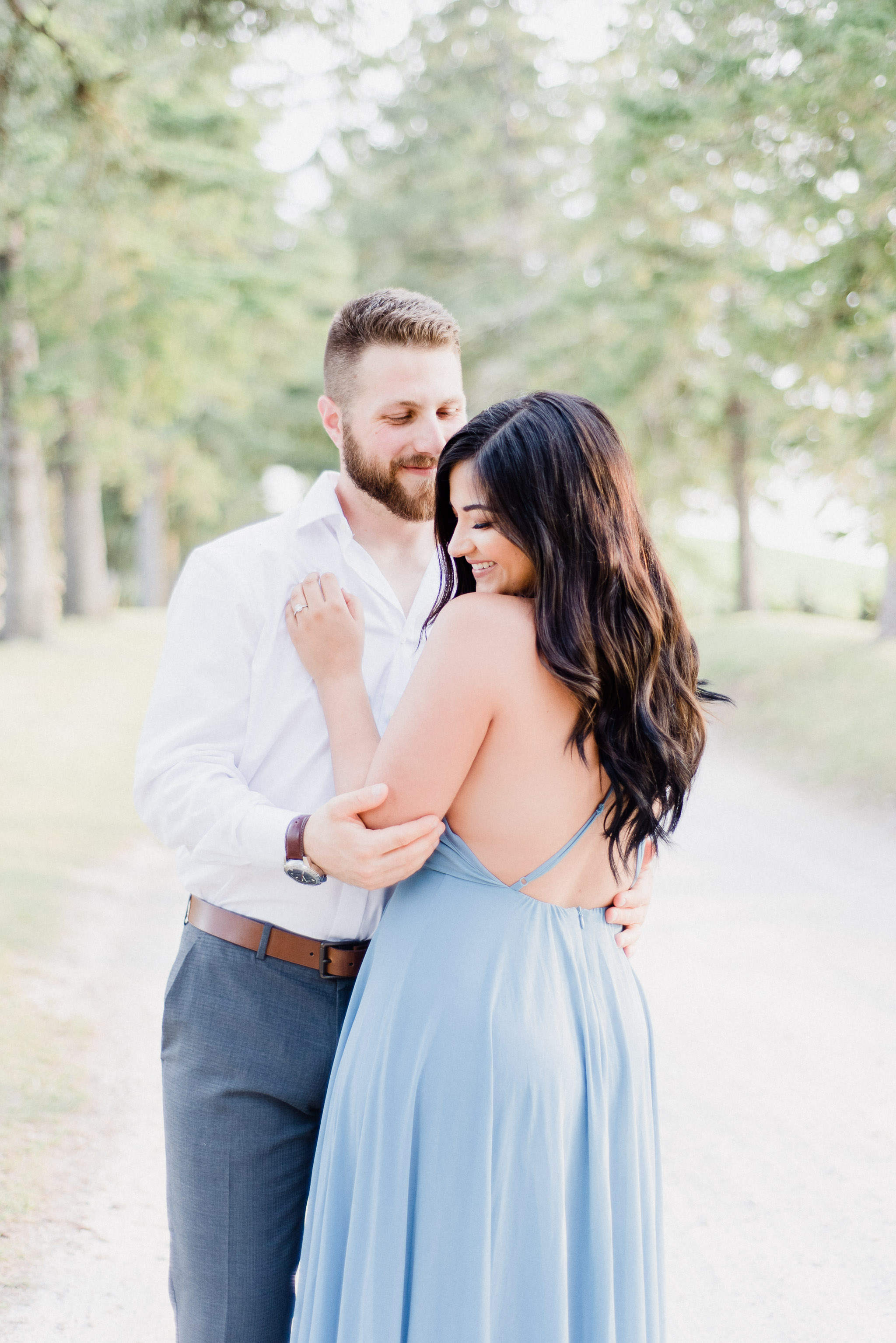 Gorgeous bride-to-be in Lulus Mythical Kind of Love Slate Blue Maxi Dress