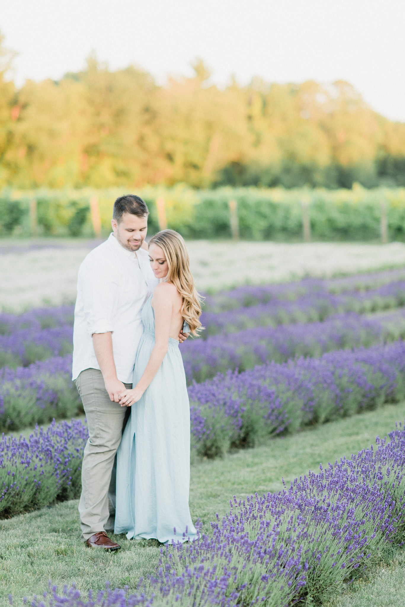 Gorgeous bride-to-be in light blue maxi dress, photographed by Jenn Kavanagh Photography.