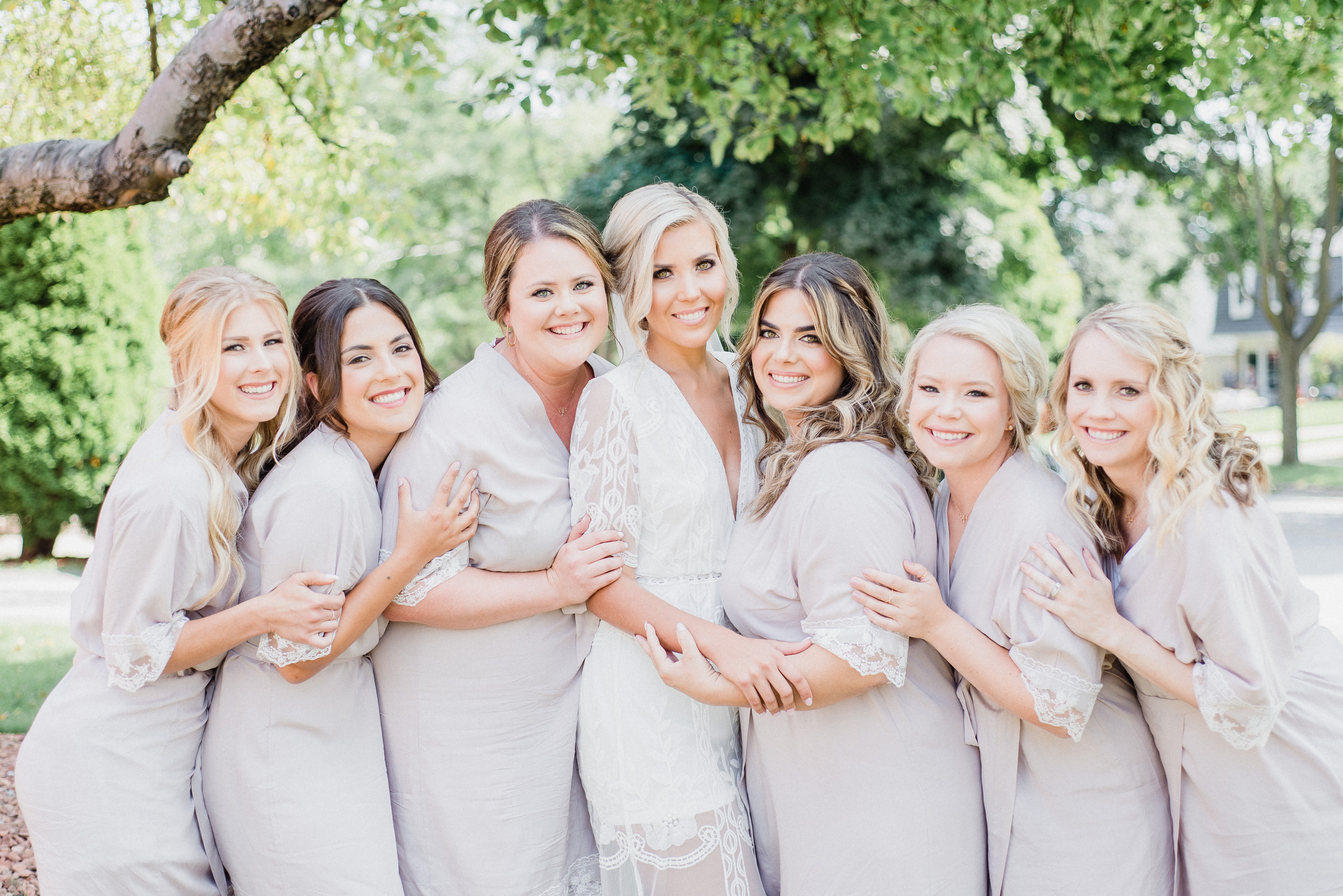 Lace Trimmed Bridesmaids robes by Jenn Kavanagh Photography