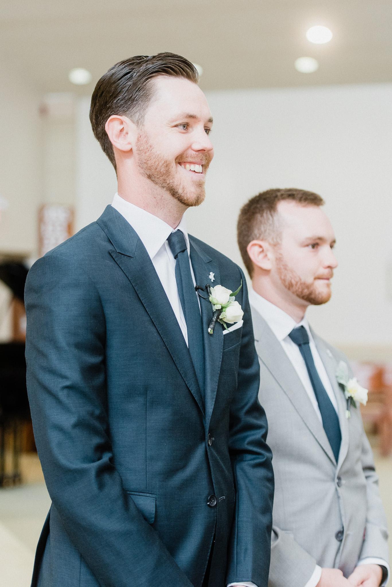 Groom's reaction at St. Matthews Catholic Church, Oakville wedding ceremony by Jenn Kavanagh Photography