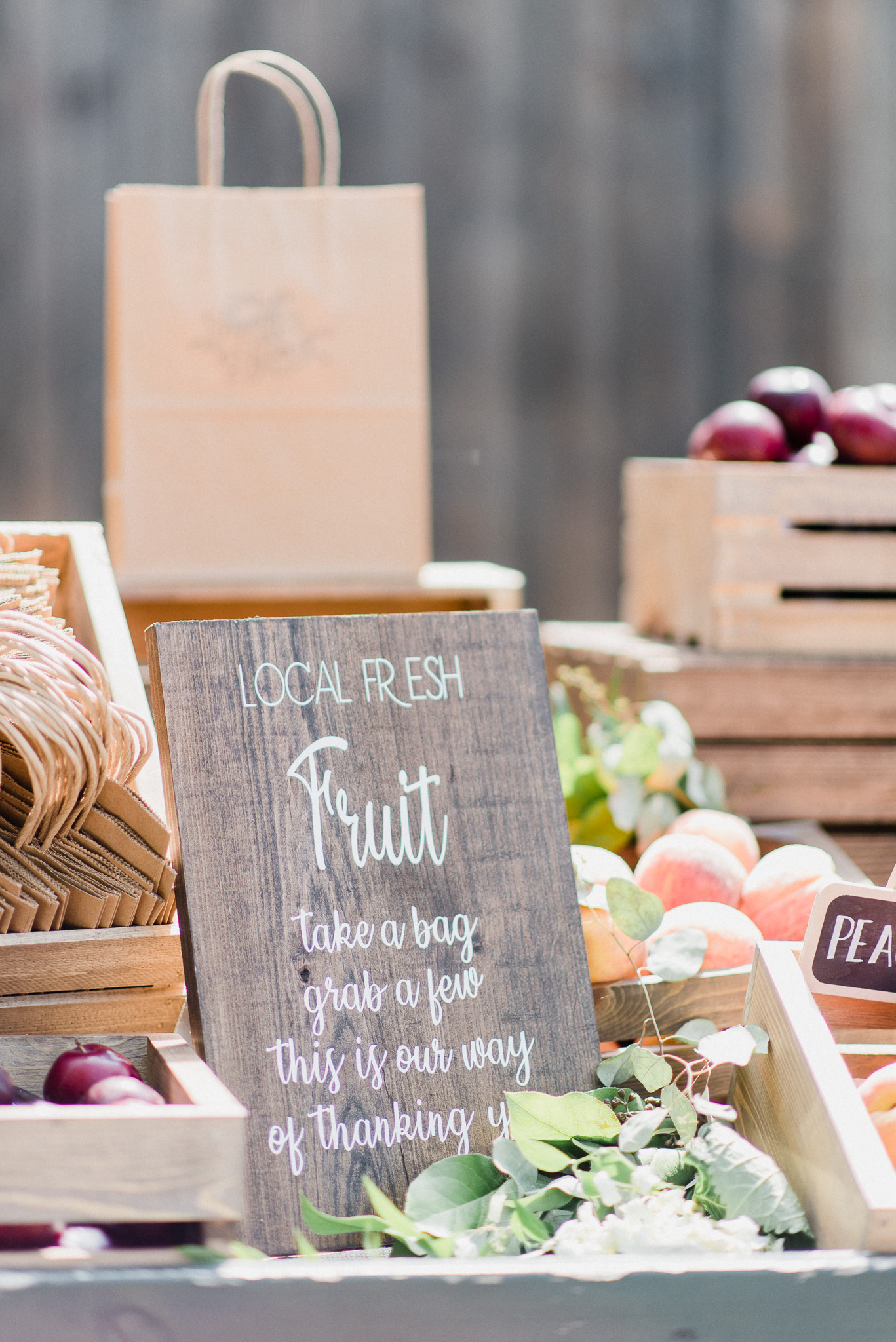 Fruit Stand at a Summertime Wedding at Earth to Table Farm by Jenn Kavanagh Photography
