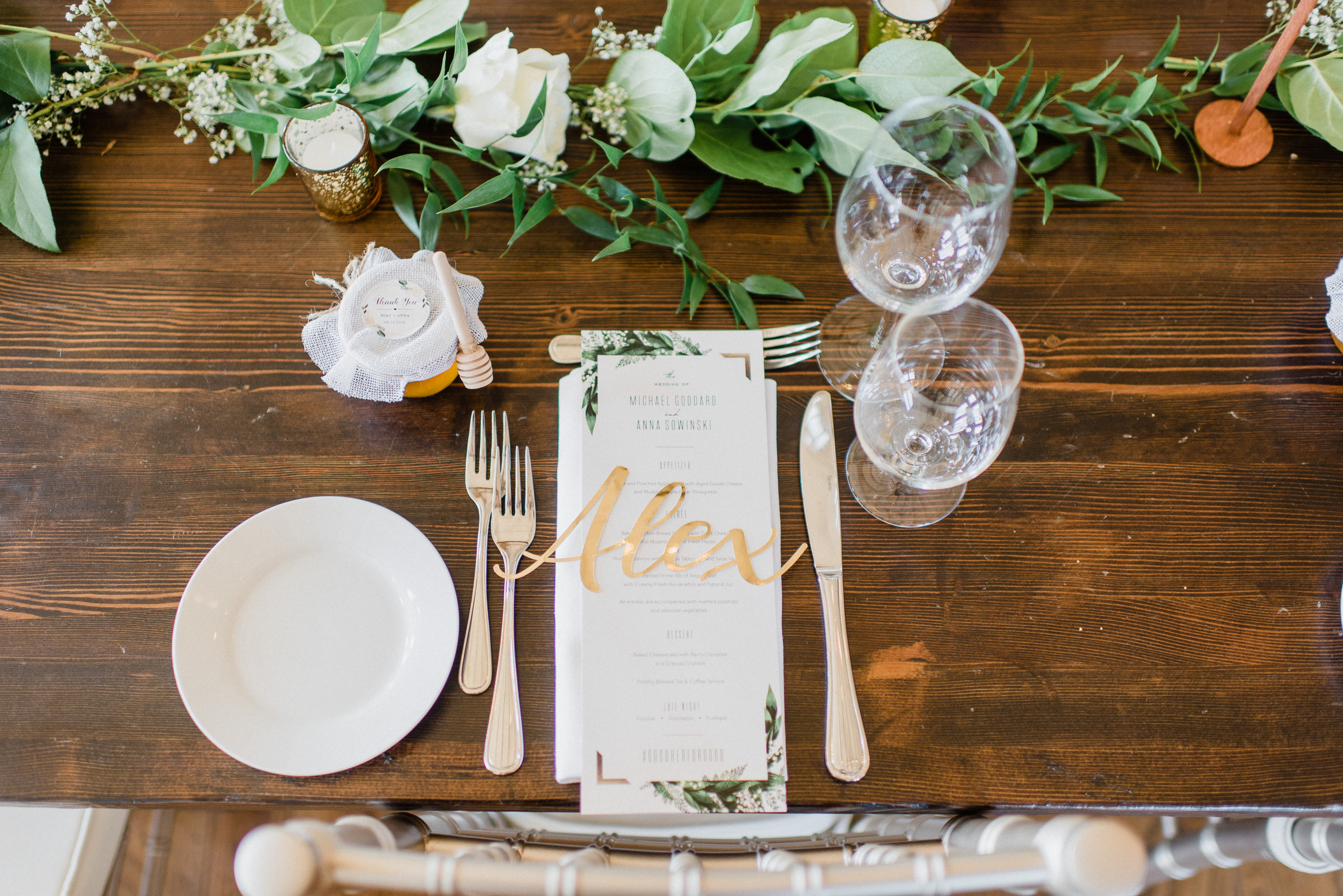Gold Laser Cut Place Cards | Earth to Table Farm wedding by Jenn Kavanagh Photography