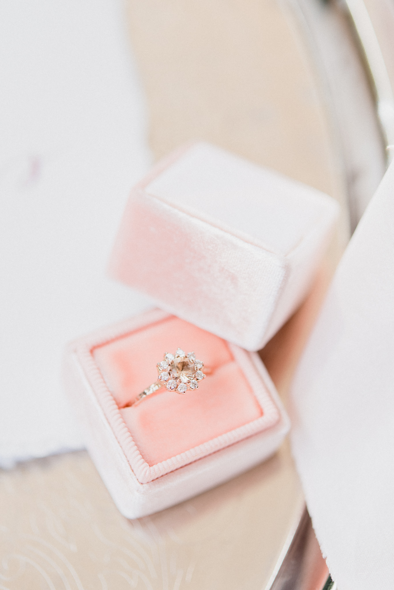 Nature inspired wedding rings by Anouk Jewelry in light pink Mrs Box, photographed by Jenn Kavanagh Photography