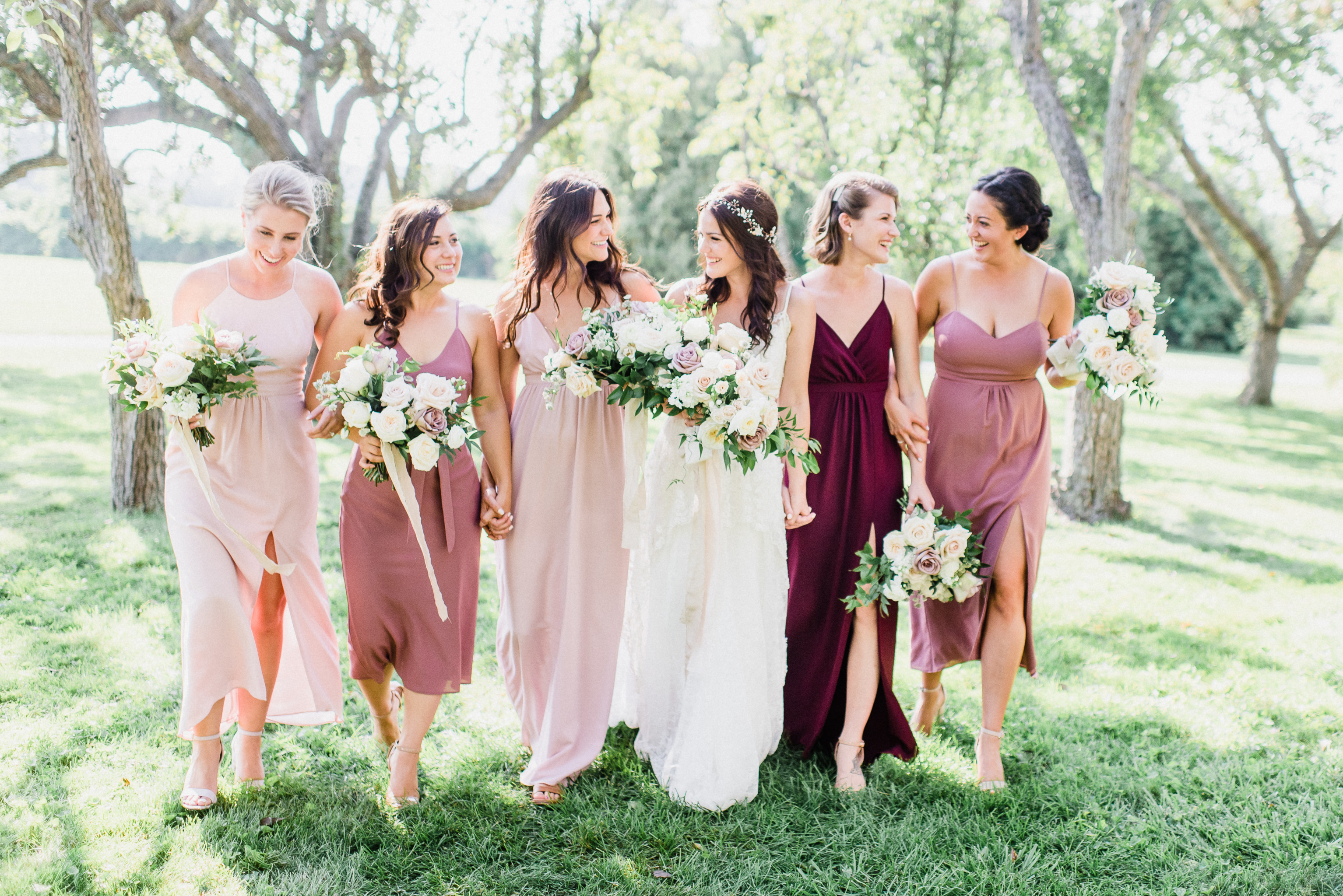 Midi Length Park & Fifth Co bridesmaids dresses by Jenn Kavanagh Photography
