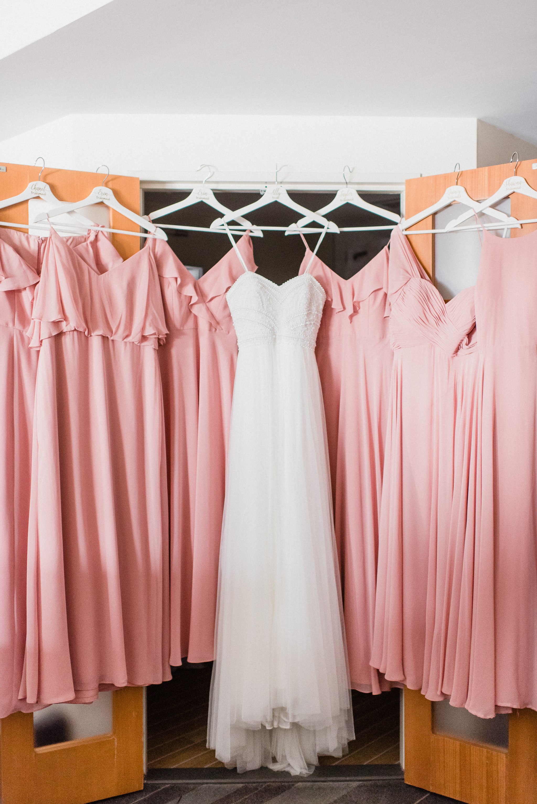 Pink bridesmaids dresses by Jenn Kavanagh Photography