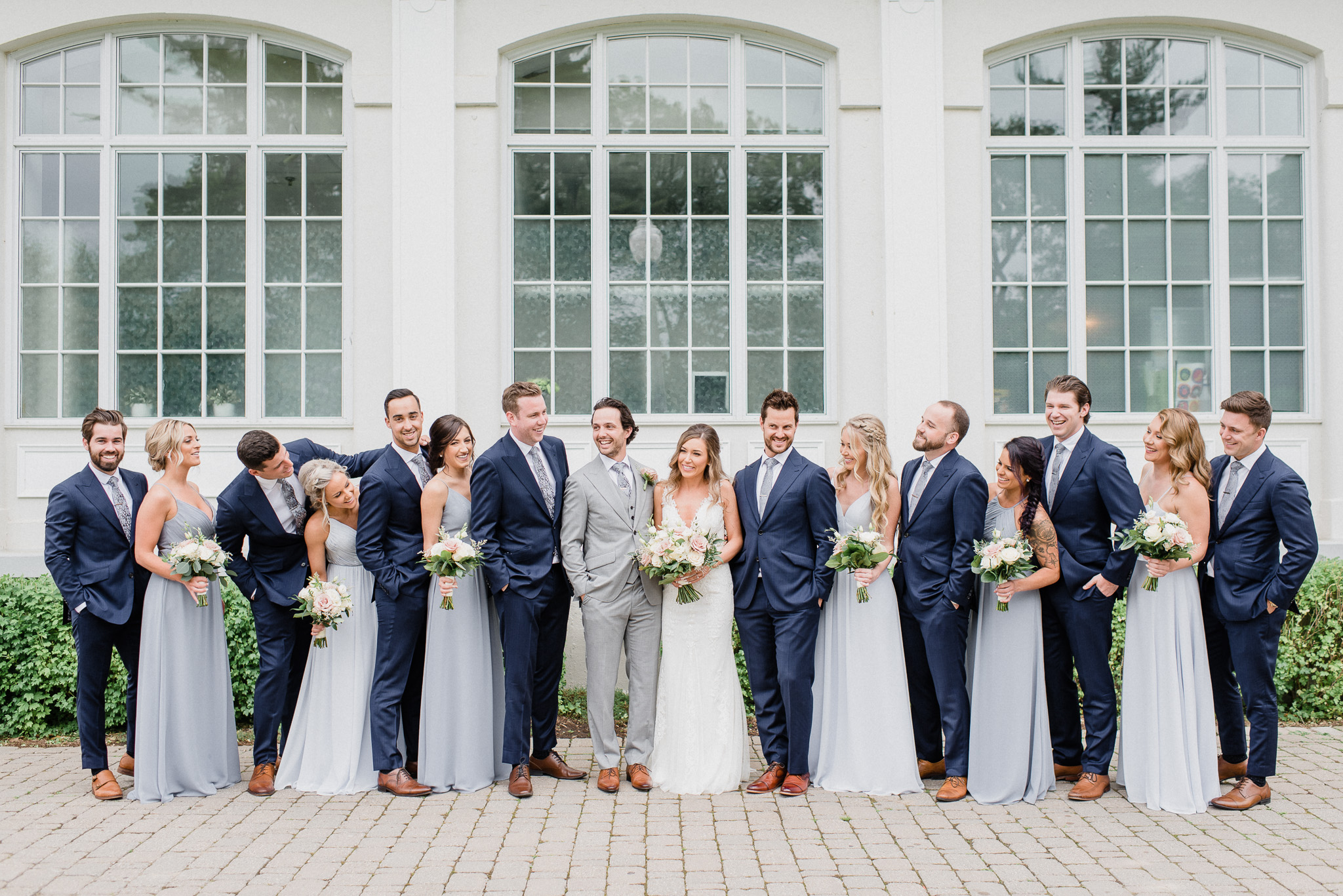Blue gray bridesmaids dresses by Jenn Kavanagh Photography