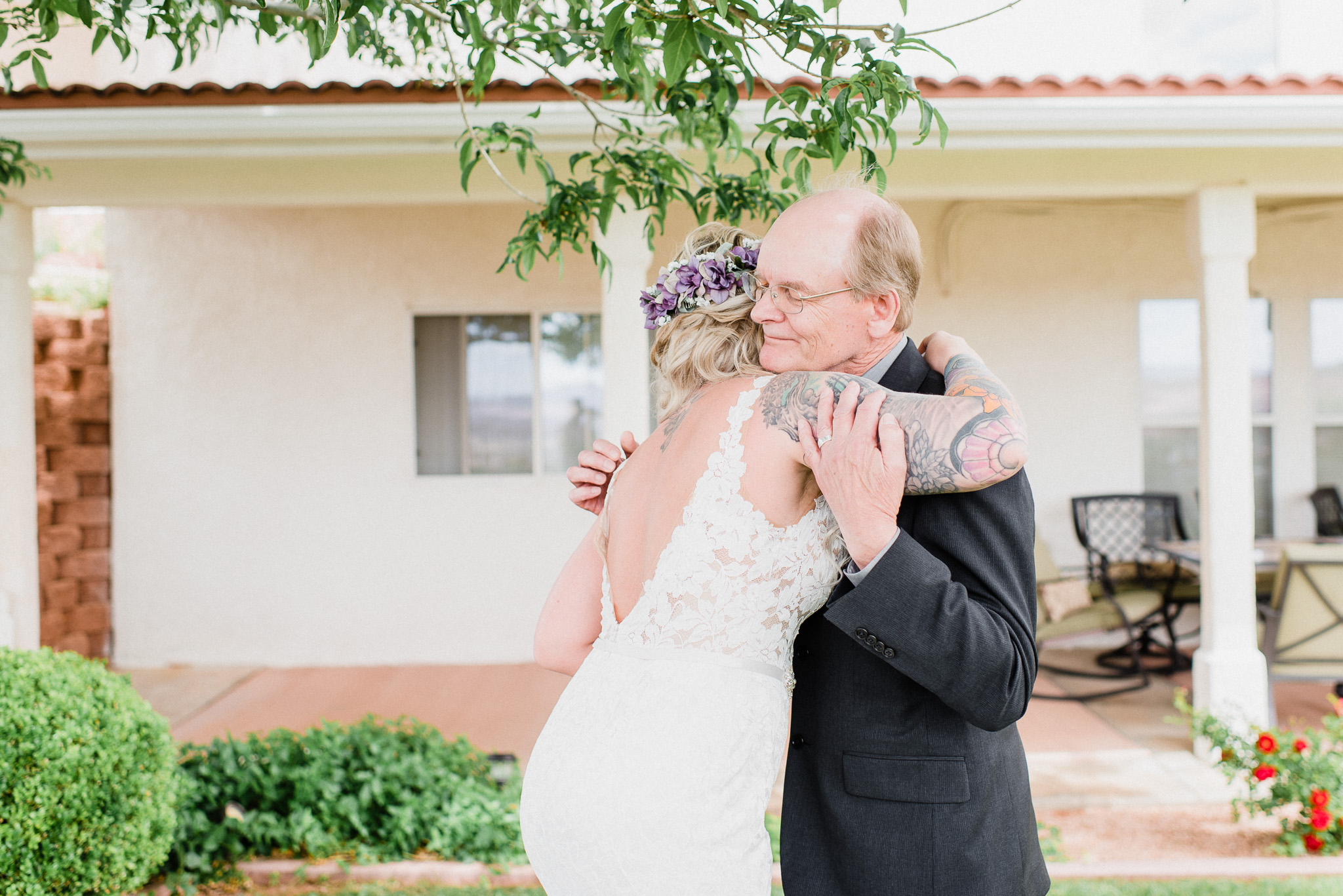Emotional first look with bride's dad by Jenn Kavanagh Photography
