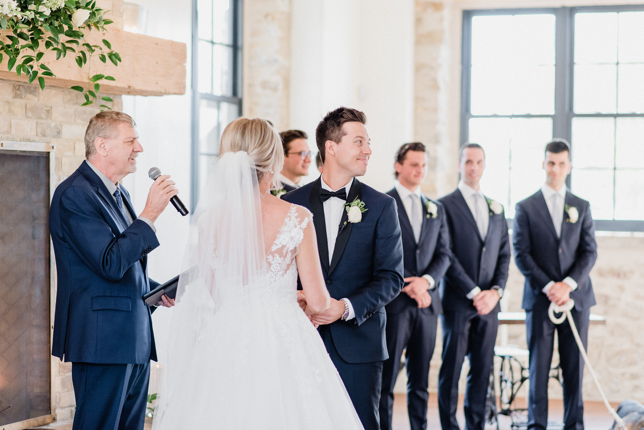 Elora Mill wedding ceremony in The Foundry | Jenn Kavanagh Photography