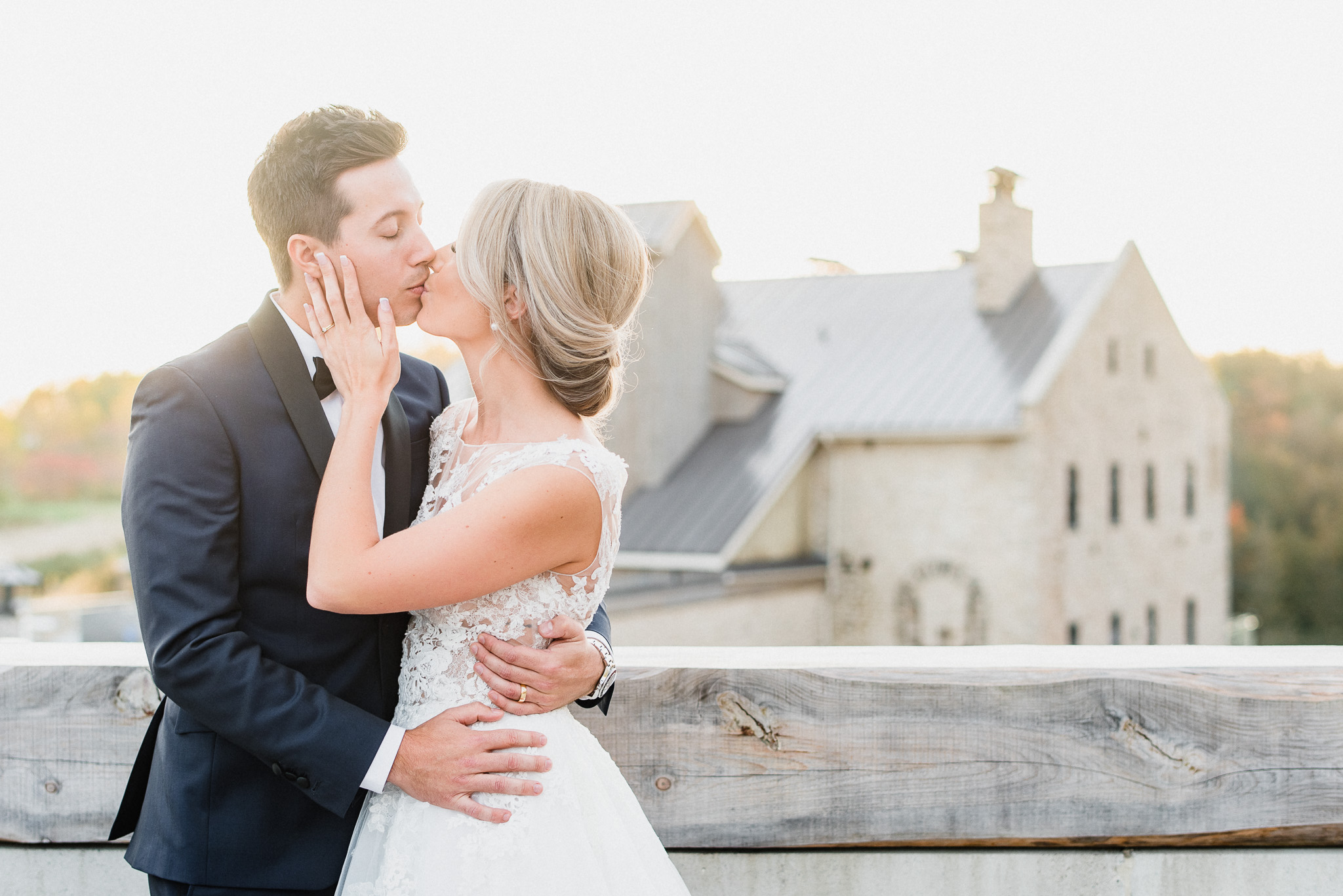 Sunset rooftop wedding photos at Elora Mill| Jenn Kavanagh Photography